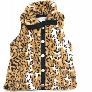 Marc New York Vest Medium Faux Fur Cheetah Black